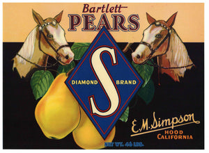 Diamond S Brand Vintage Hood California Pear Crate Label