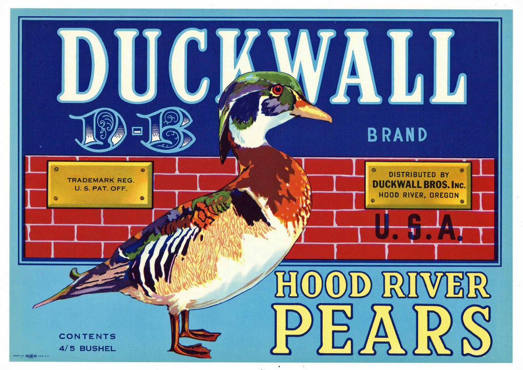 Duckwall Brand Vintage Hood River Oregon Pear Crate Label, blue