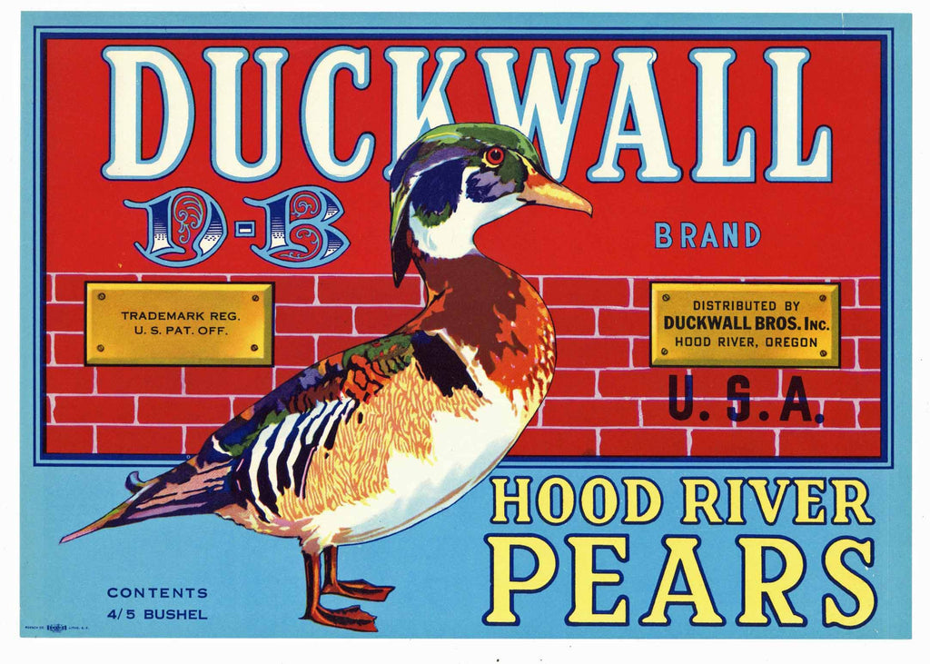 Duckwall Brand Vintage Hood River Oregon Pear Crate Label, red