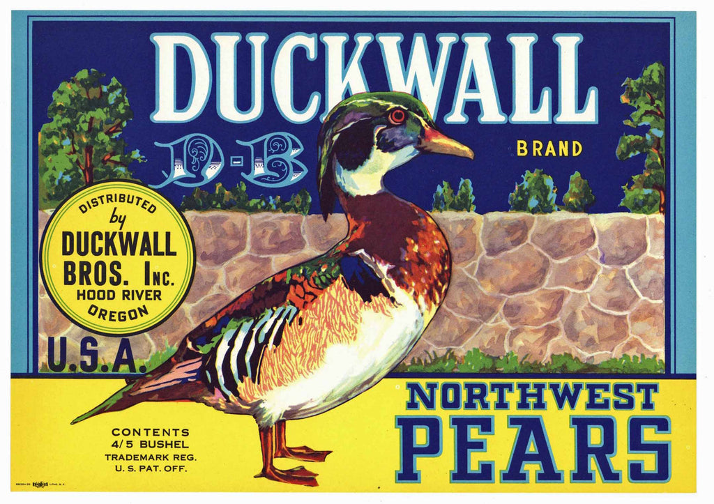 Duckwall Brand Vintage Hood River Oregon Pear Crate Label, rock