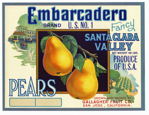 Embarcadero Brand Vintage San Jose California Pear Crate Label