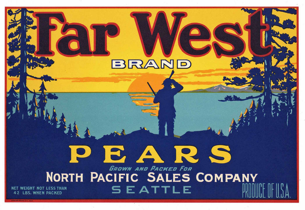FAR WEST Brand Vintage Pear Crate Label (P068)