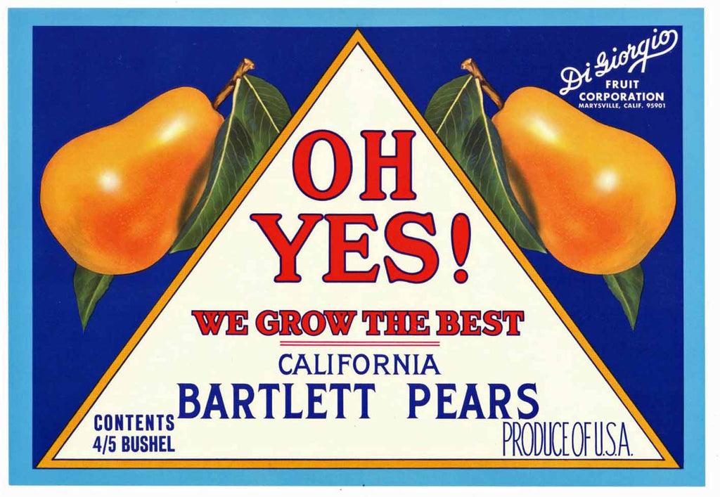 Oh Yes! Brand Vintage Pear Crate Label