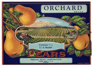 Orchard Brand Vintage Yakima Washington Pear Crate Label b