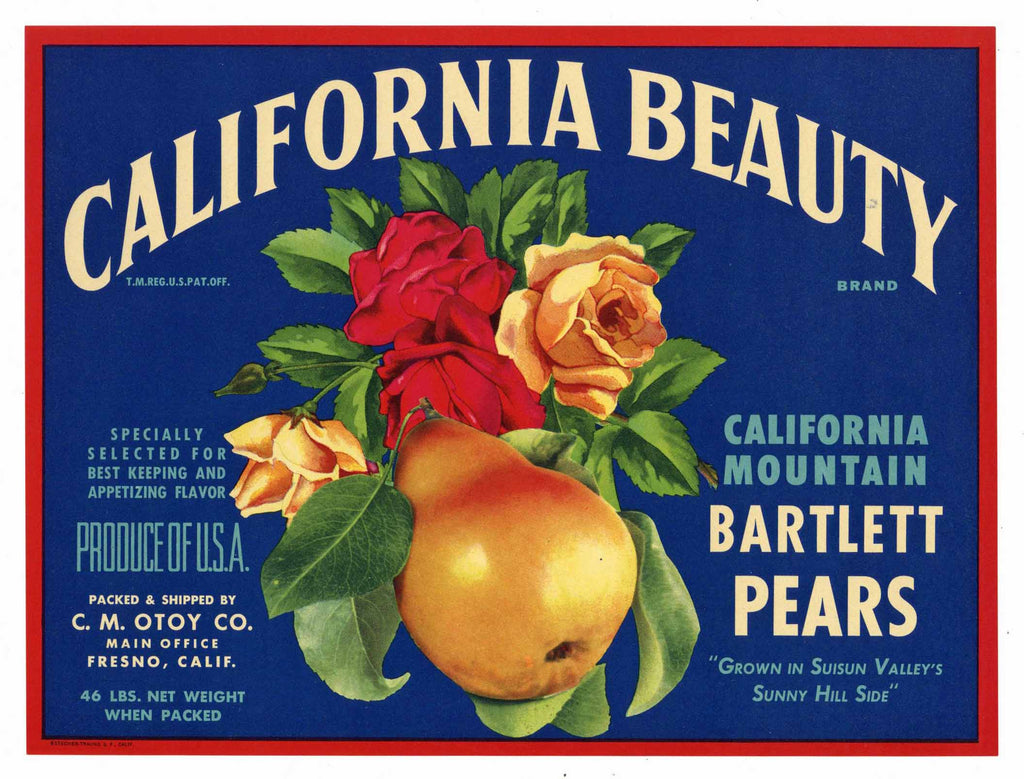 California Beauty Brand Vintage Suisun Pear Crate Label