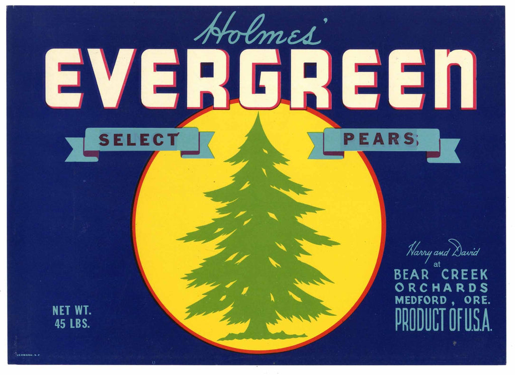 Evergreen Brand Vintage Medford Oregon Pear Crate Label, Select Overprint