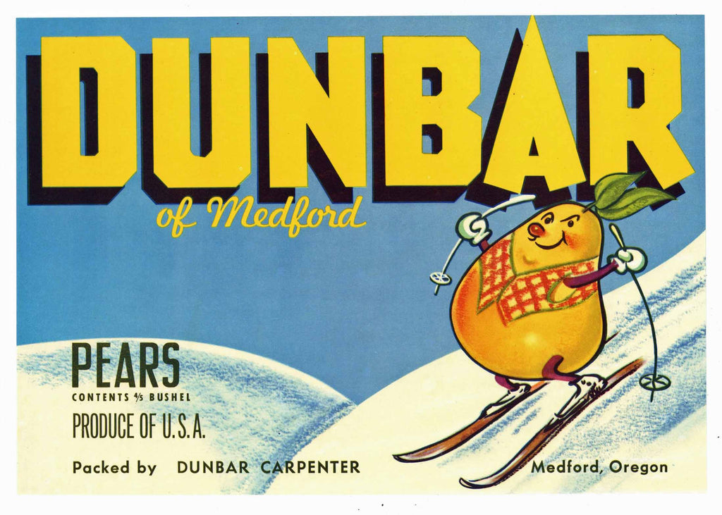 Dunbar Brand Vintage Medford Oregon Pear Crate Label, blue