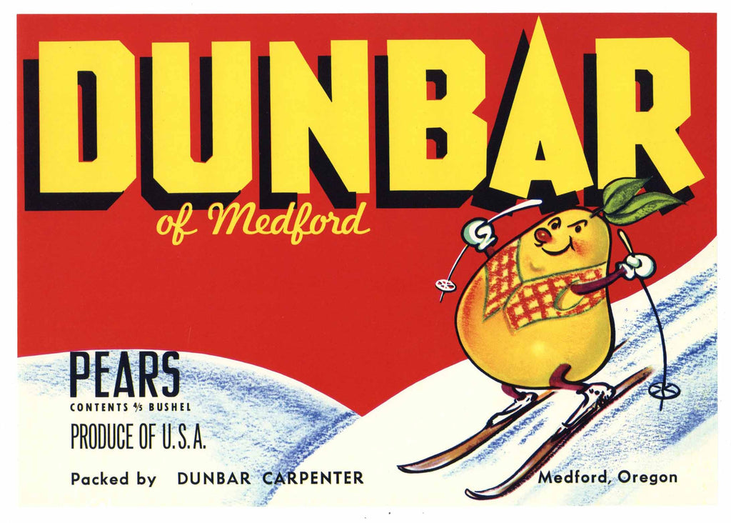 Dunbar Brand Vintage Medford Oregon Pear Crate Label, red