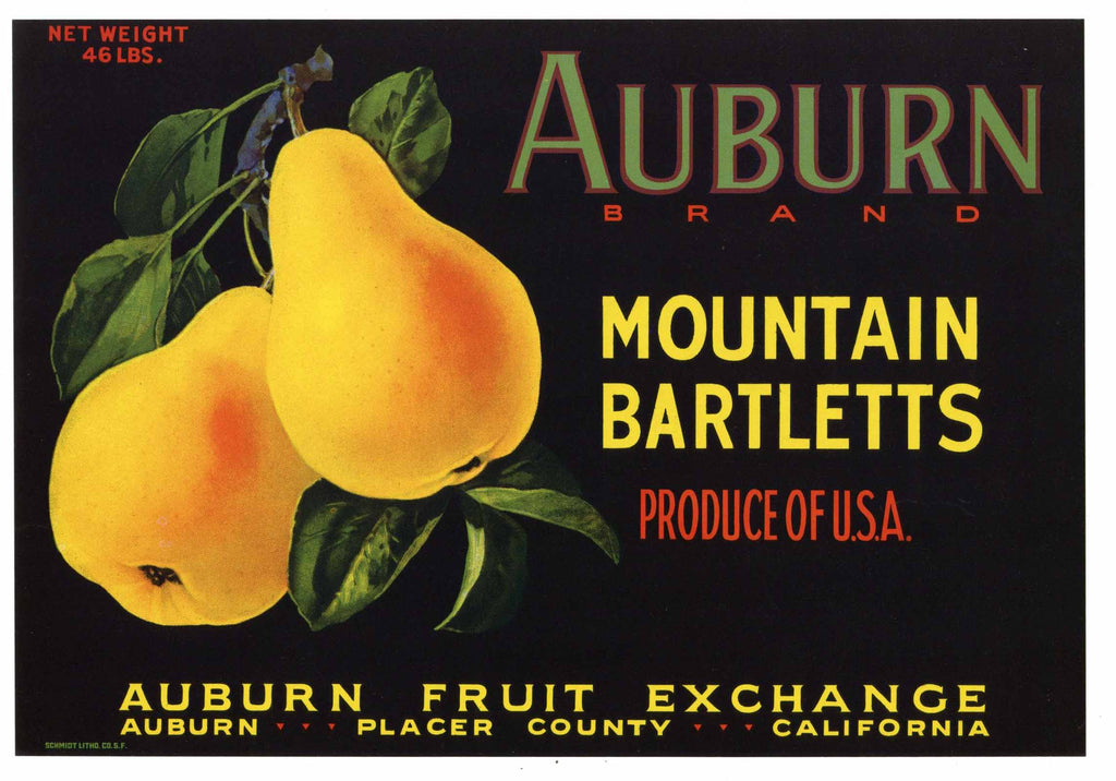 Auburn Brand Vintage Placer County California Pear Crate Label