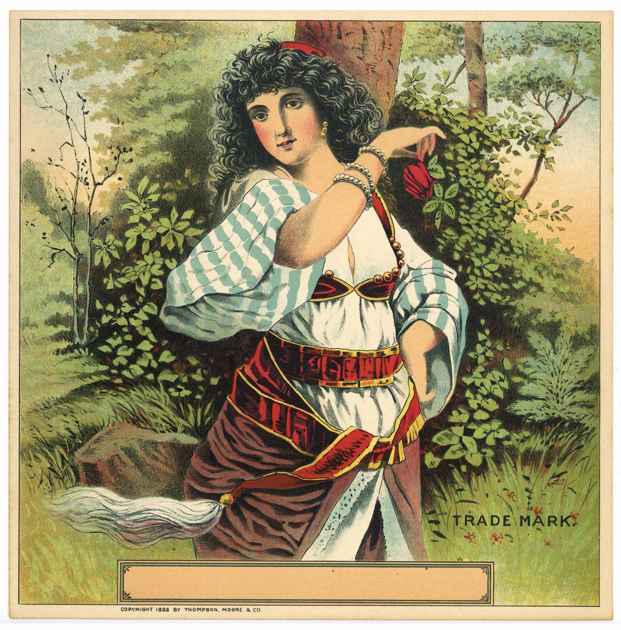 Stock  Antique Tobacco Caddy Label, Girl With Rose