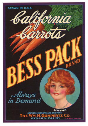 Bess Pack Brand Vintage Oxnard Vegetable Crate Label