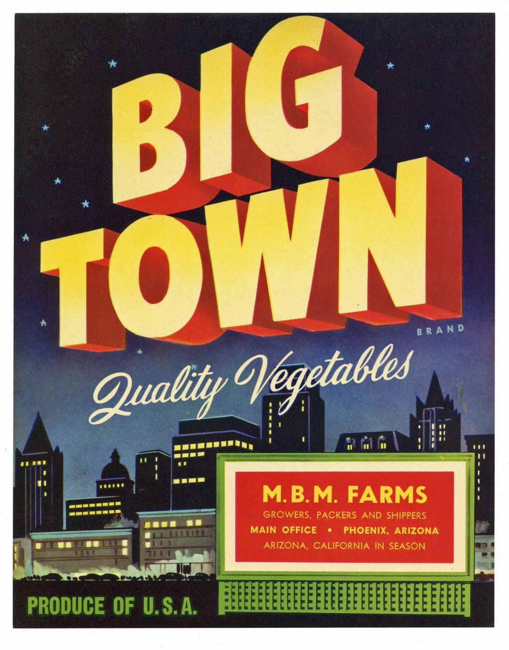 Big Town Brand Vintage Arizona Vegetable Crate Label