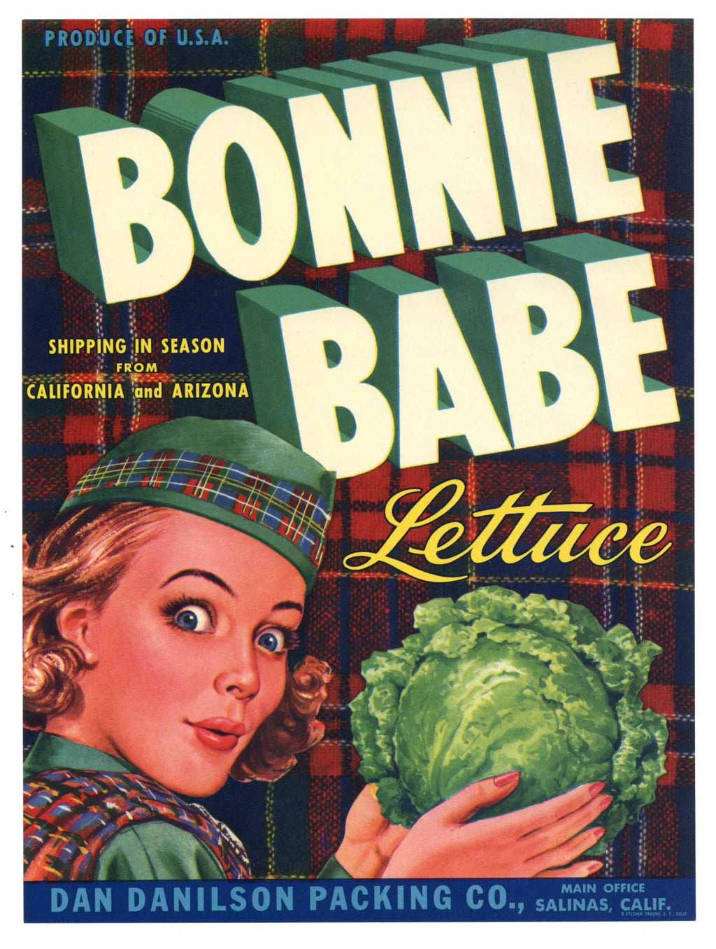 Bonnie Babe Brand Vintage Salinas Vegetable Crate Label