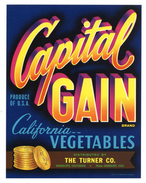Capital Gain Brand Vintage Vegetable Crate Label