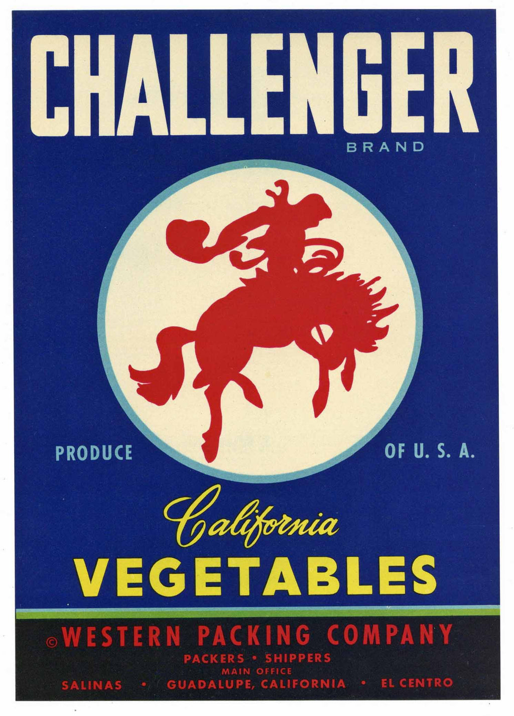Challenger Brand Vintage Vegetable Crate Label