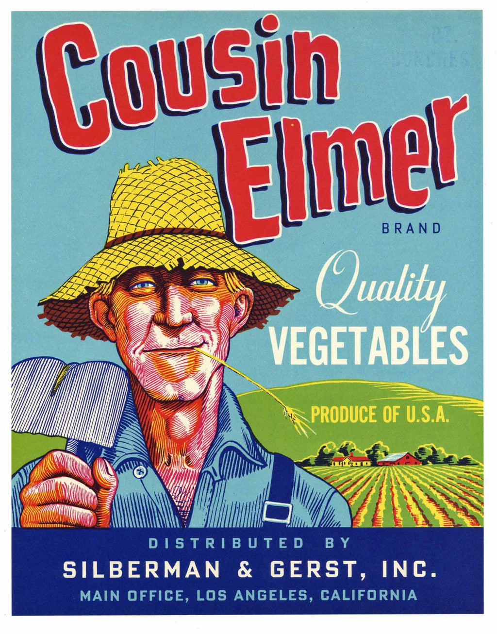 Cousin Elmer Brand Vintage Vegetable Crate Label