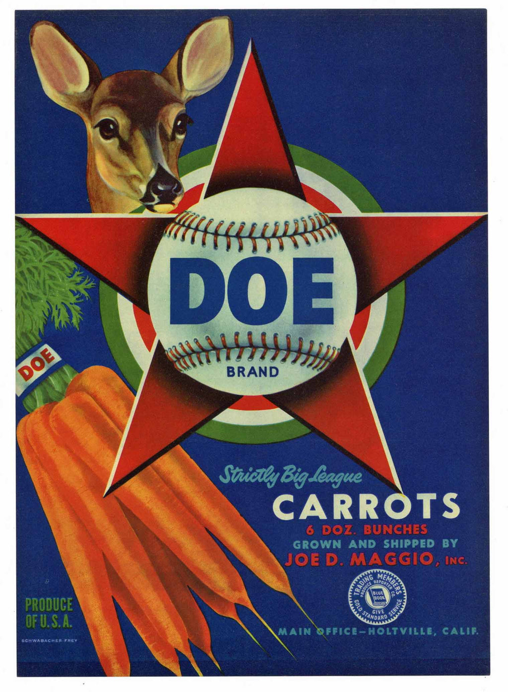 Doe Brand Vintage Carrot Crate Label, baseball