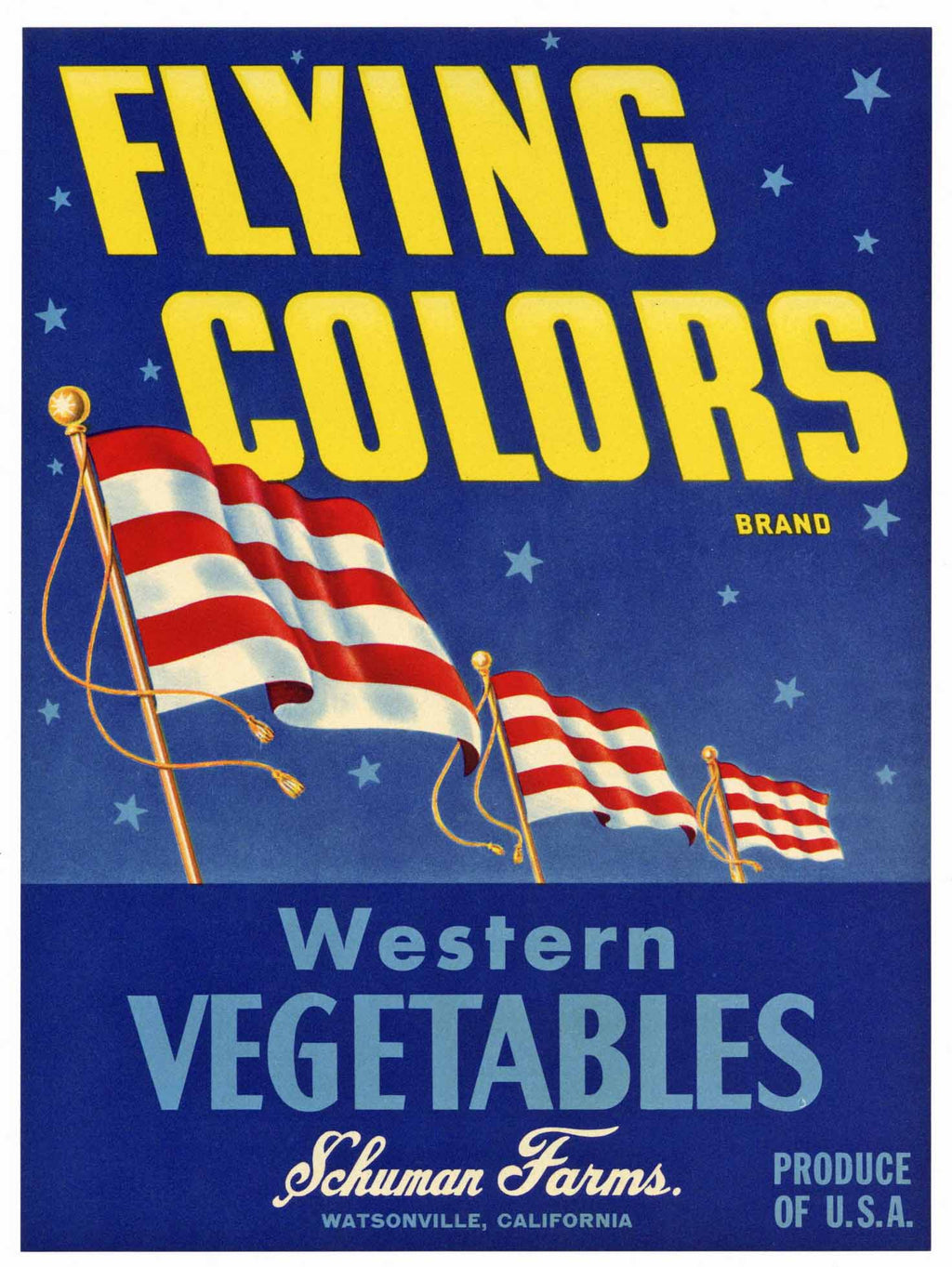 Flying Colors Brand Vintage Watsonville Vegetable Crate Label, L
