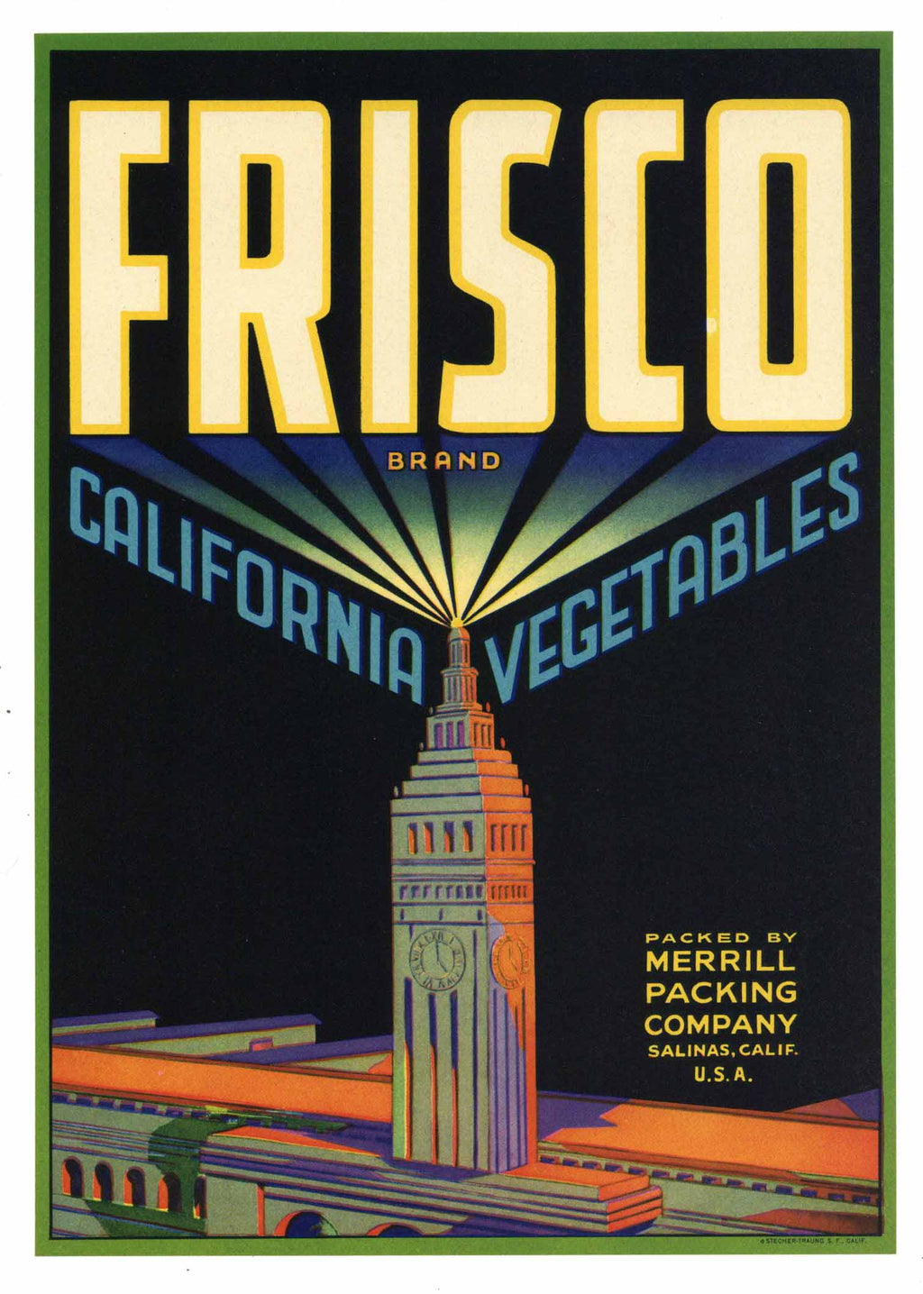 Frisco Brand Vintage Salinas Vegetable Crate Label