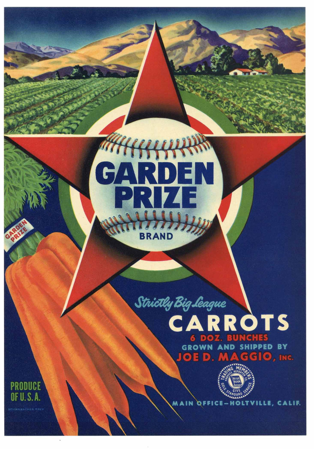 Garden Prize Brand Vintage Carrot Crate Label