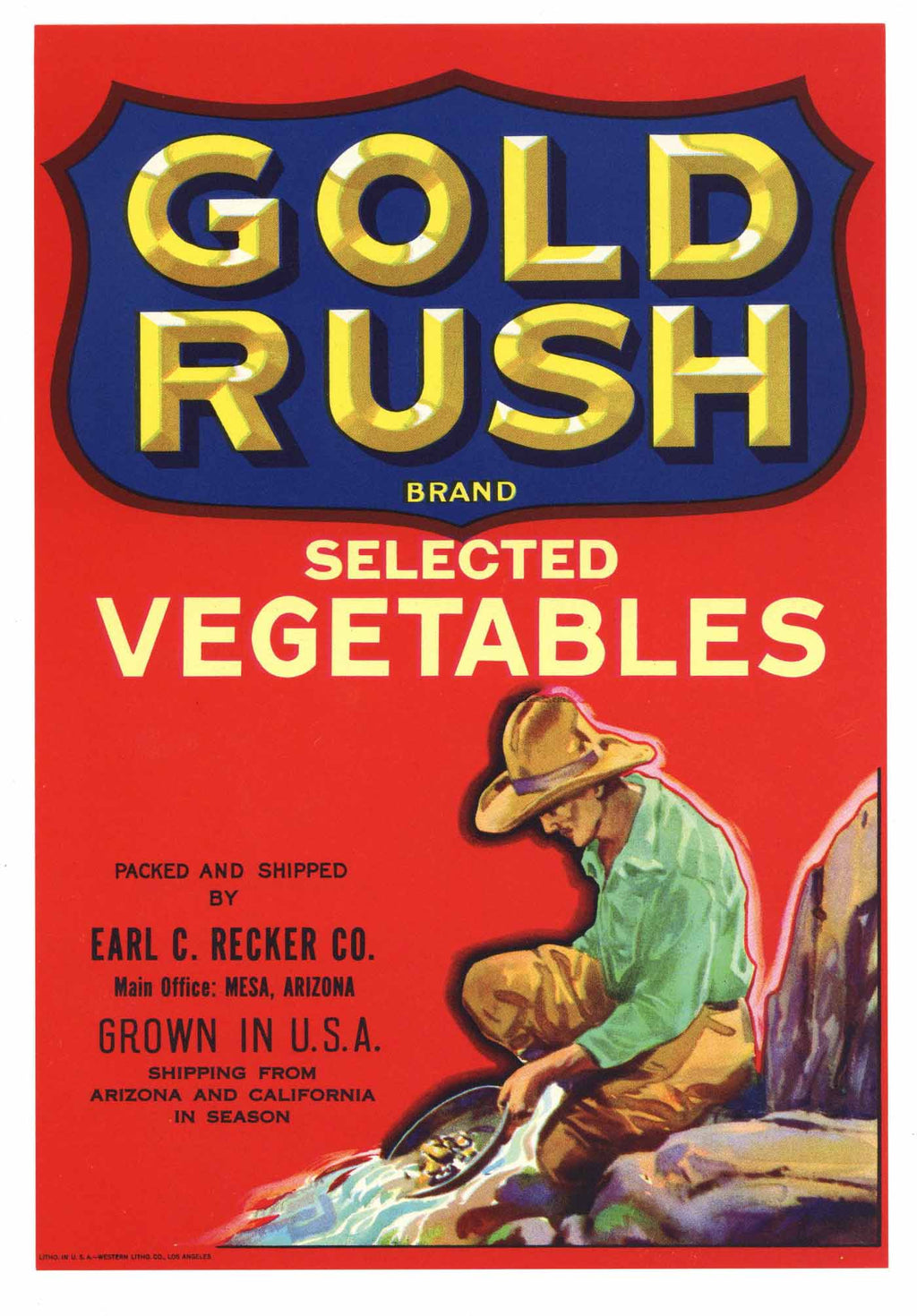Gold Rush Brand Vintage Arizona Vegetable Crate Label