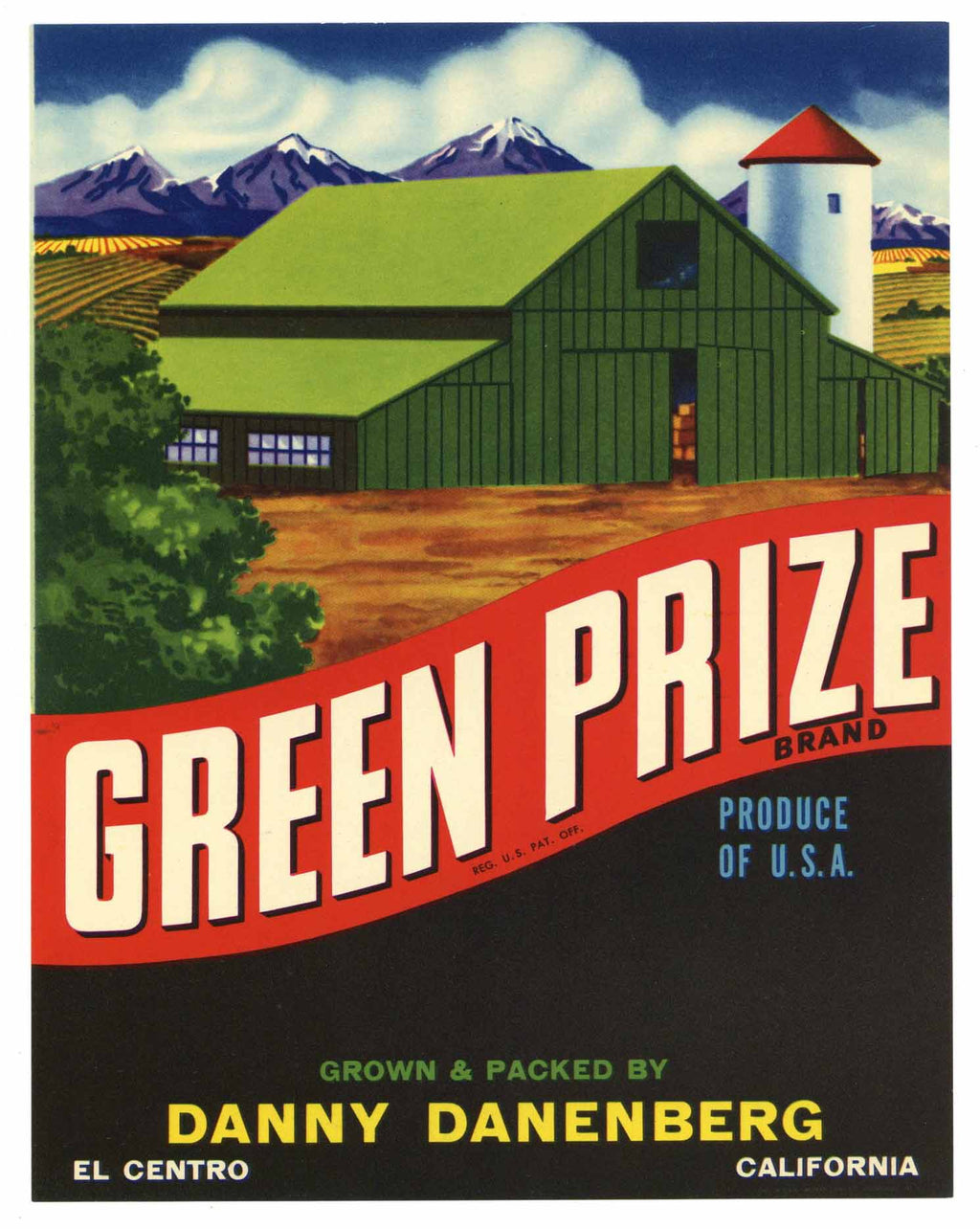 Green Prize Brand Vintage Imperial Valley Vegetable Crate Label