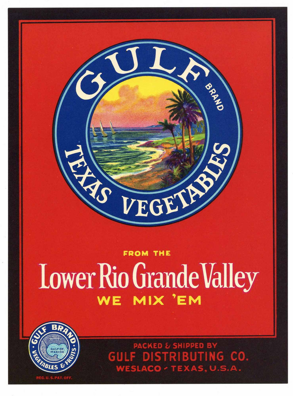 Gulf Brand Vintage Texas Vegetable Crate Label