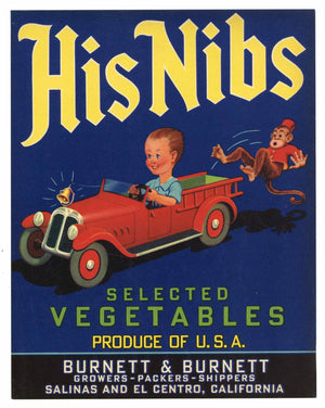 His Nibs Brand Vintage Salinas Vegetable Crate Label