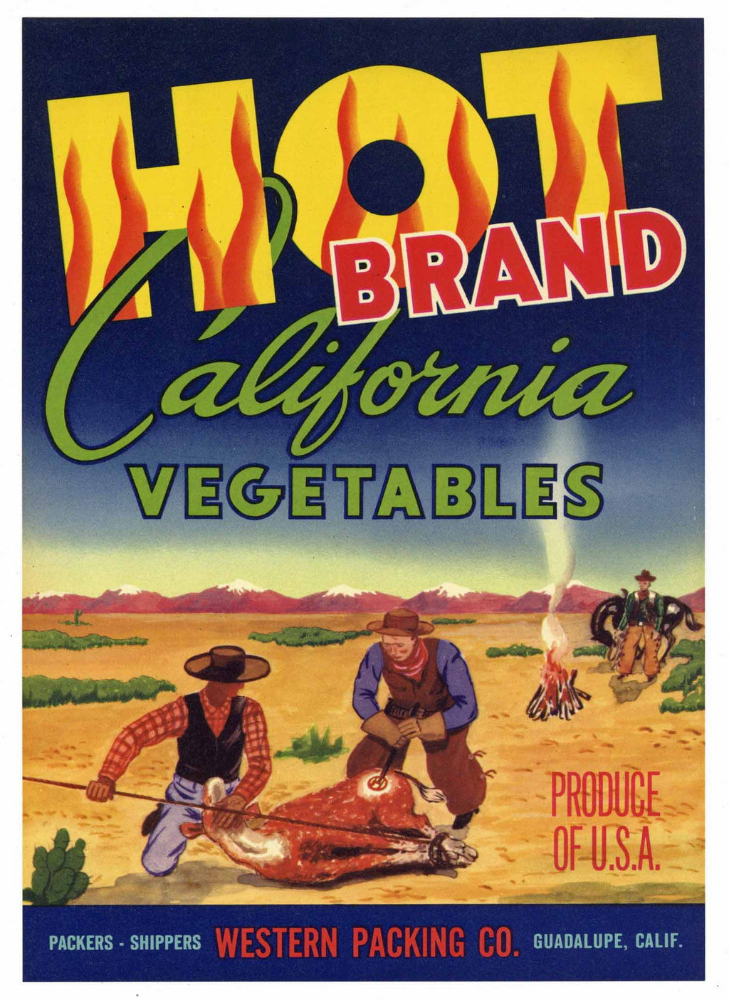 Hot Brand Vintage Vegetable Crate Label, L