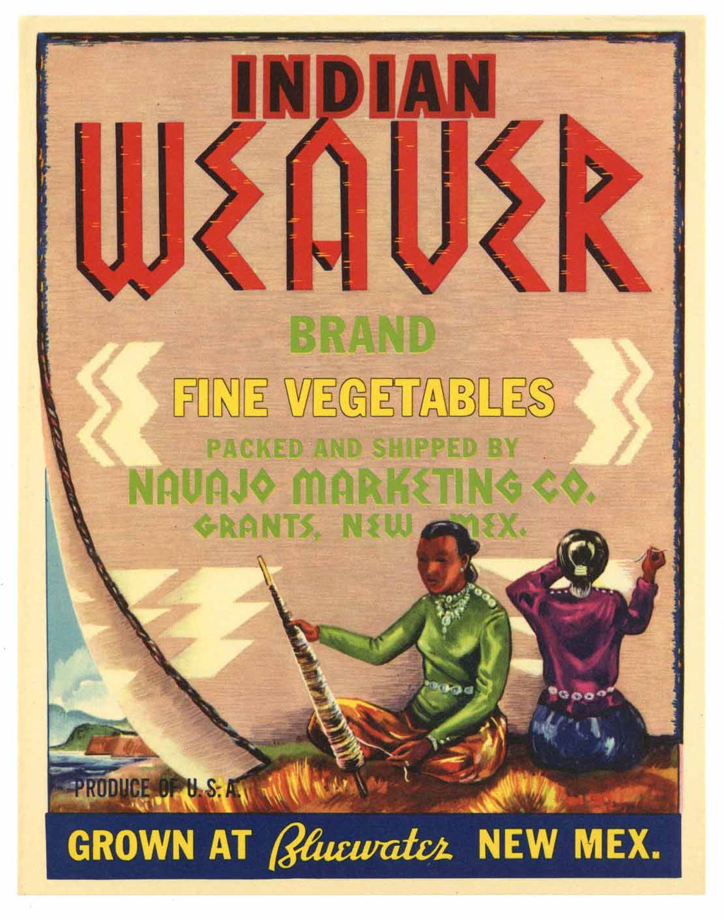 Indian Weaver Brand Vintage Grants New Mexico Vegetable Crate Label