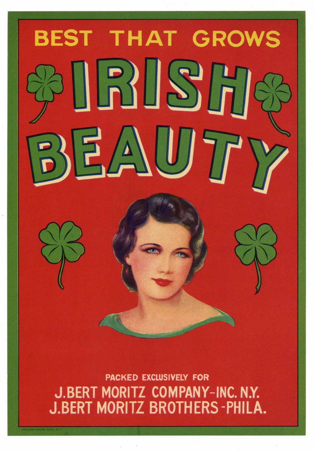 Irish Beauty Brand Vintage Vegetable Crate Label
