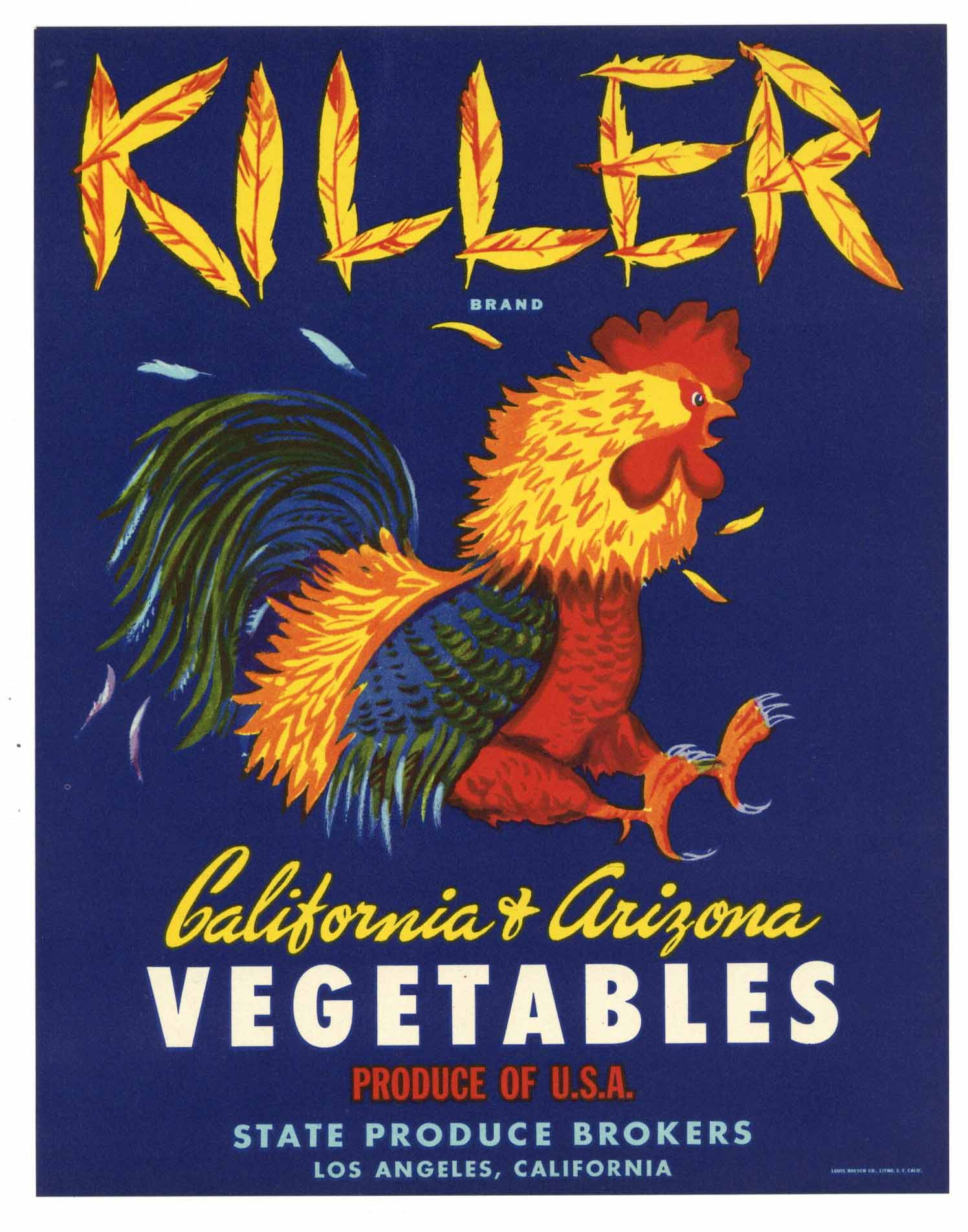 Killer Brand Vintage Vegetable Crate Label