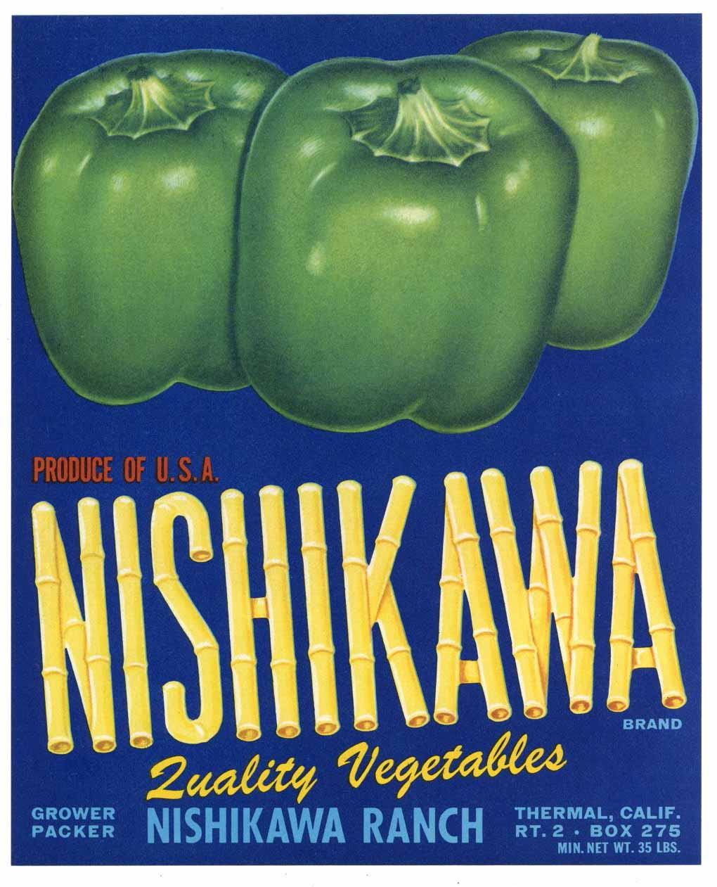 Nishikawa Brand Vintage Coachella Valley Pepper Crate Label