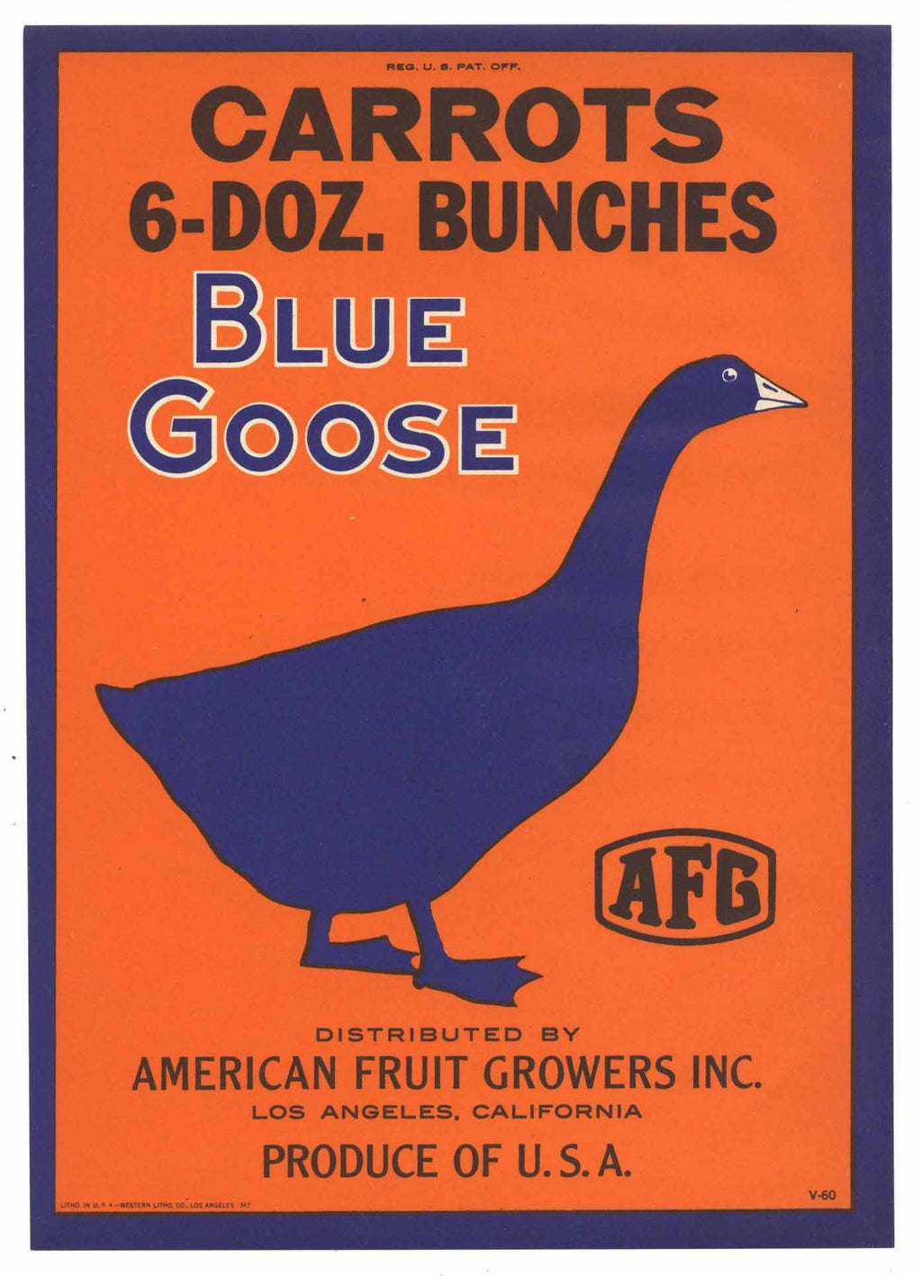 Blue Goose Brand Vintage Vegetable Crate Label
