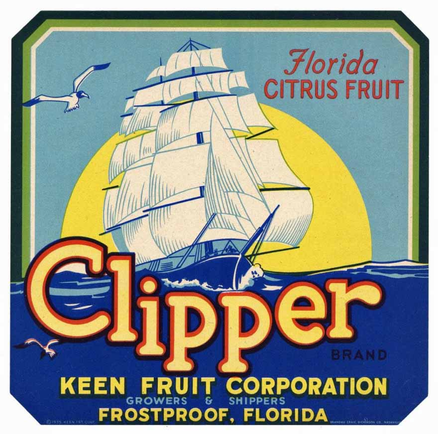 Clipper Brand Vintage Frostproof Florida Citrus Crate Label