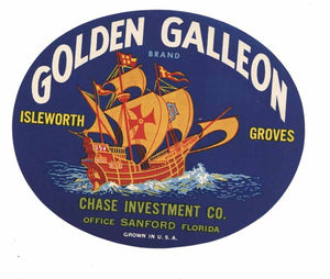 Golden Galleon Brand Vintage Florida Produce Crate Label