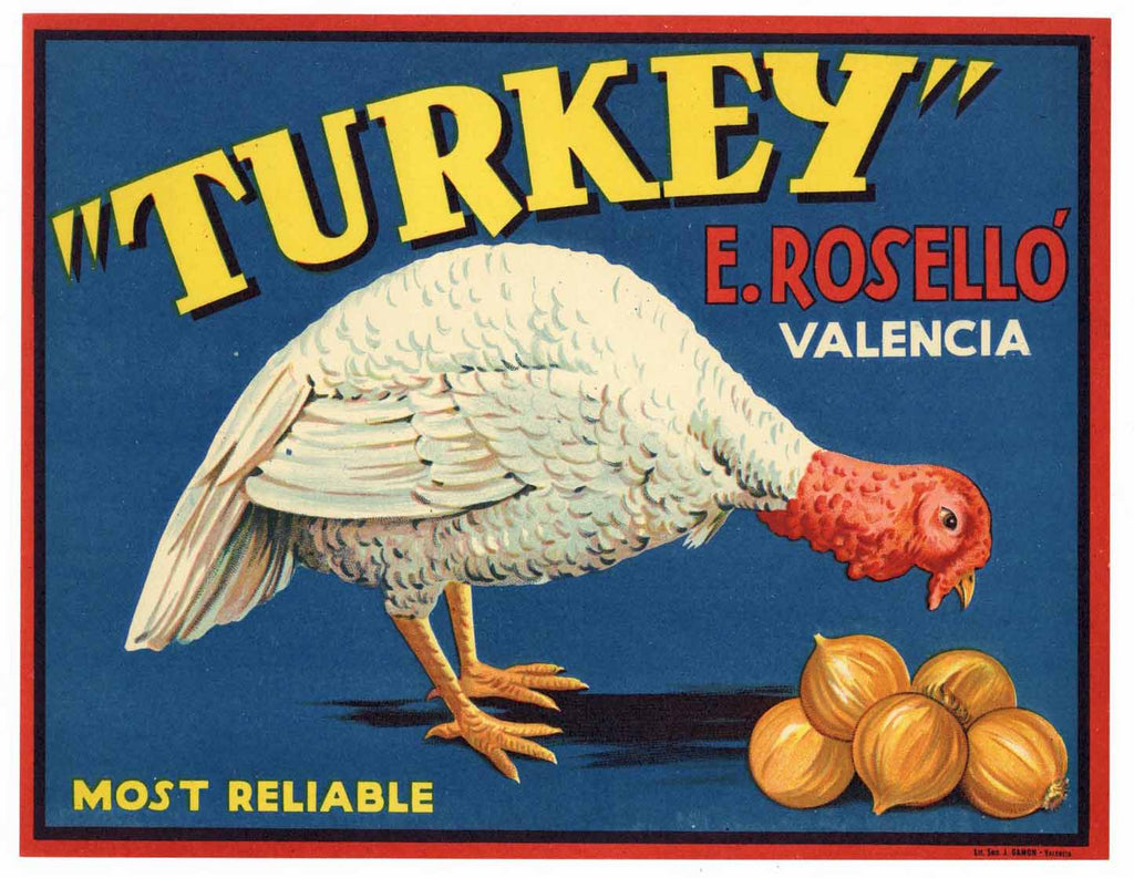 Turkey Brand Vintage Spanish Onion Crate Label