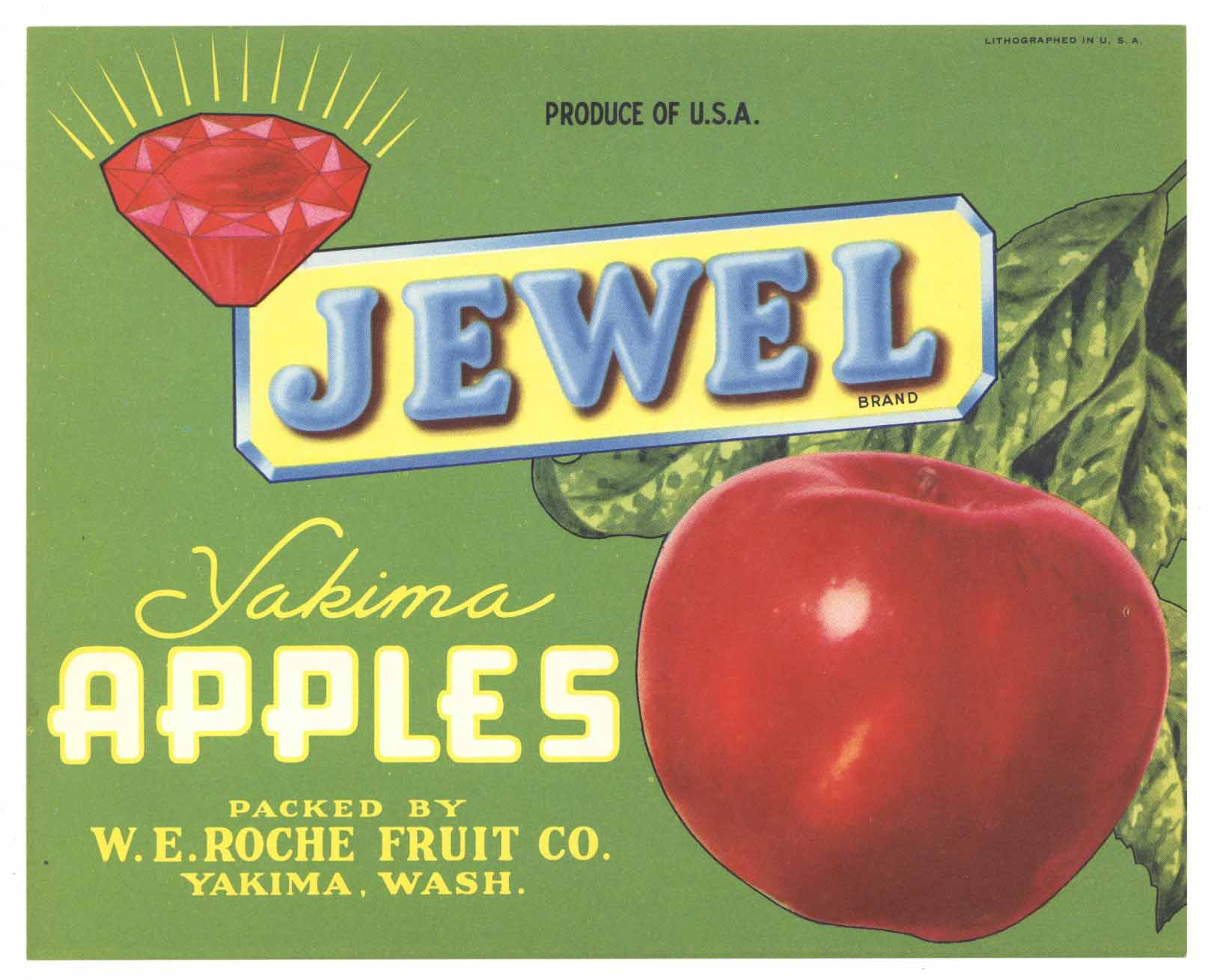 Jewel Brand Vintage Yakima Washington Apple Crate Label, gp