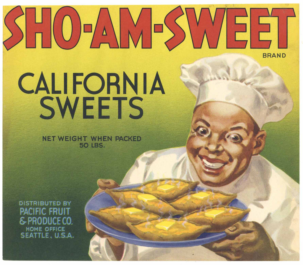 Sho - Am - Sweet Brand Vintage  Yam Crate Label, large