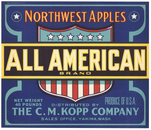 All American Brand Vintage Yakima Washington Apple Crate Label