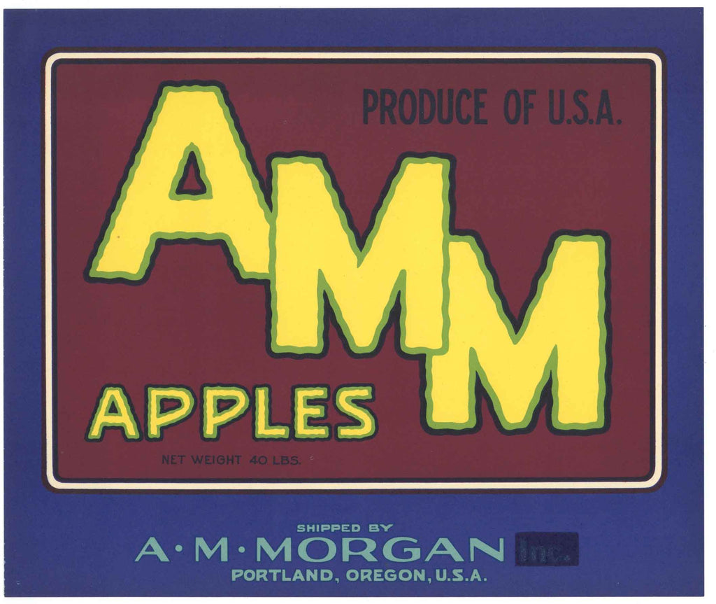 AMM Brand Vintage Portland Oregon Apple Crate Label