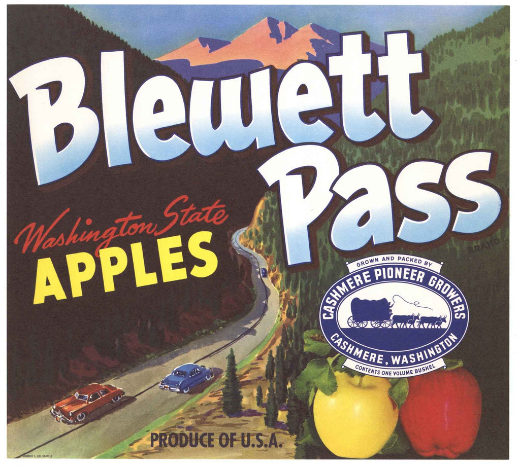 Blewett Pass Brand Vintage Cashmere Washington Apple Crate Label