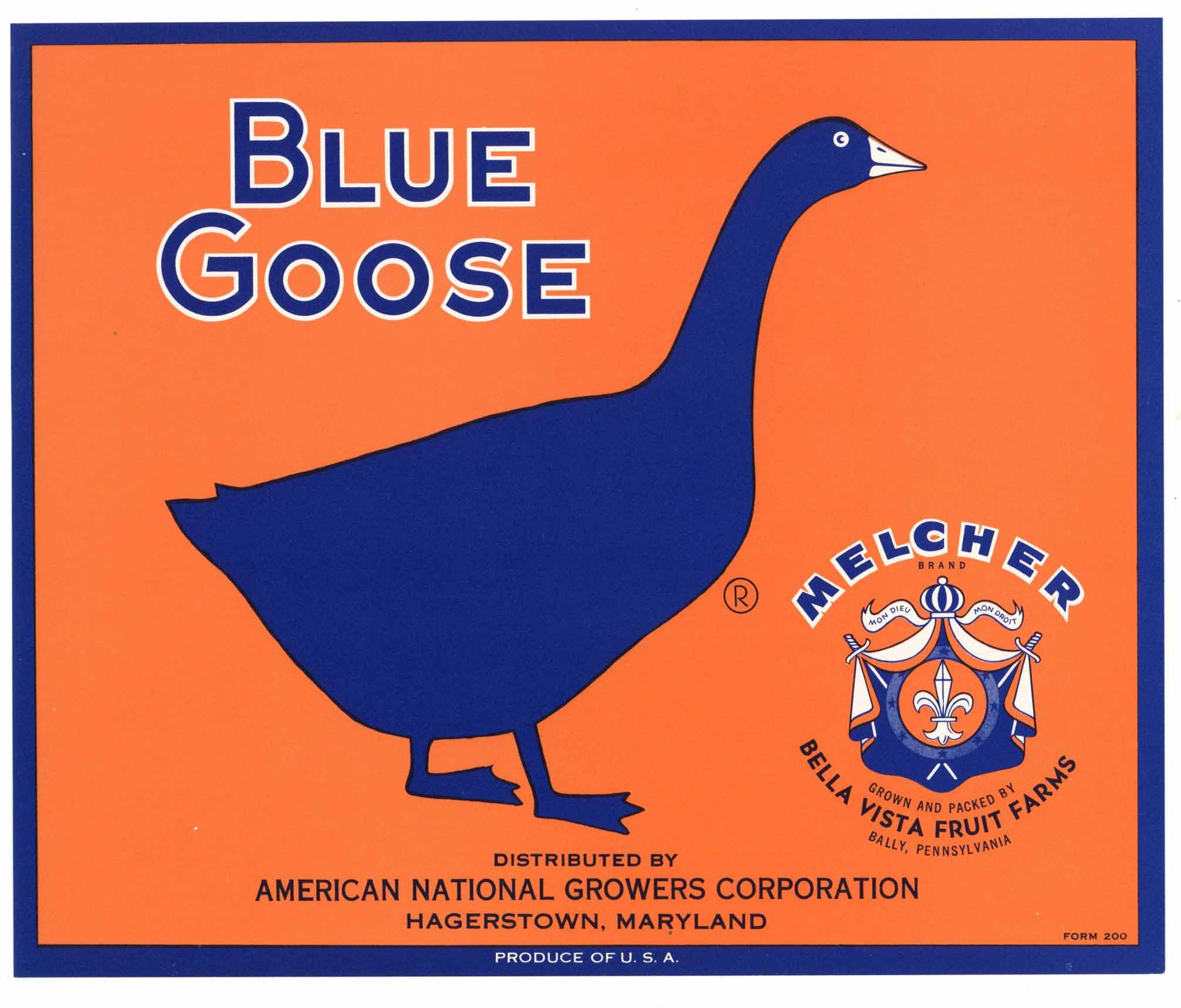 Blue Goose Brand Vintage Hagerstown Maryland Apple Crate Label, Melcher