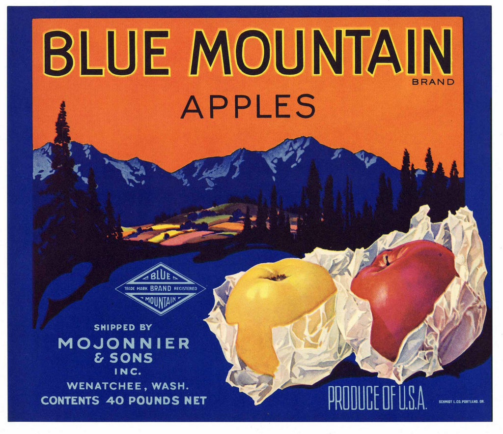 Blue Mountain Brand Vintage Washington Apple Crate Label