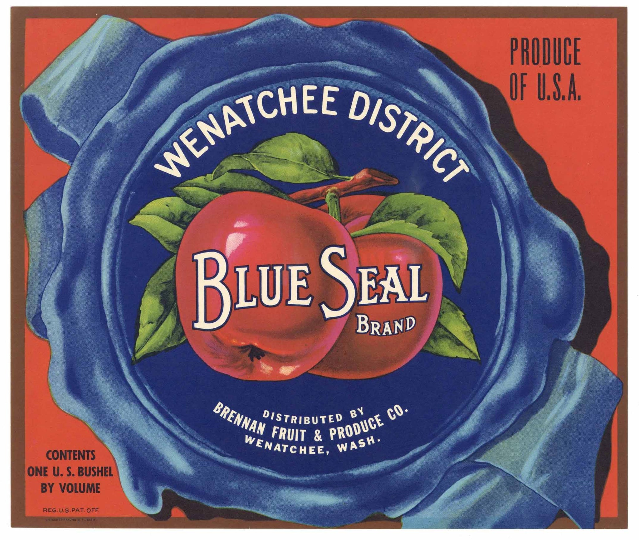 Blue Seal Brand Vintage Wenatchee Washington Apple Crate Label