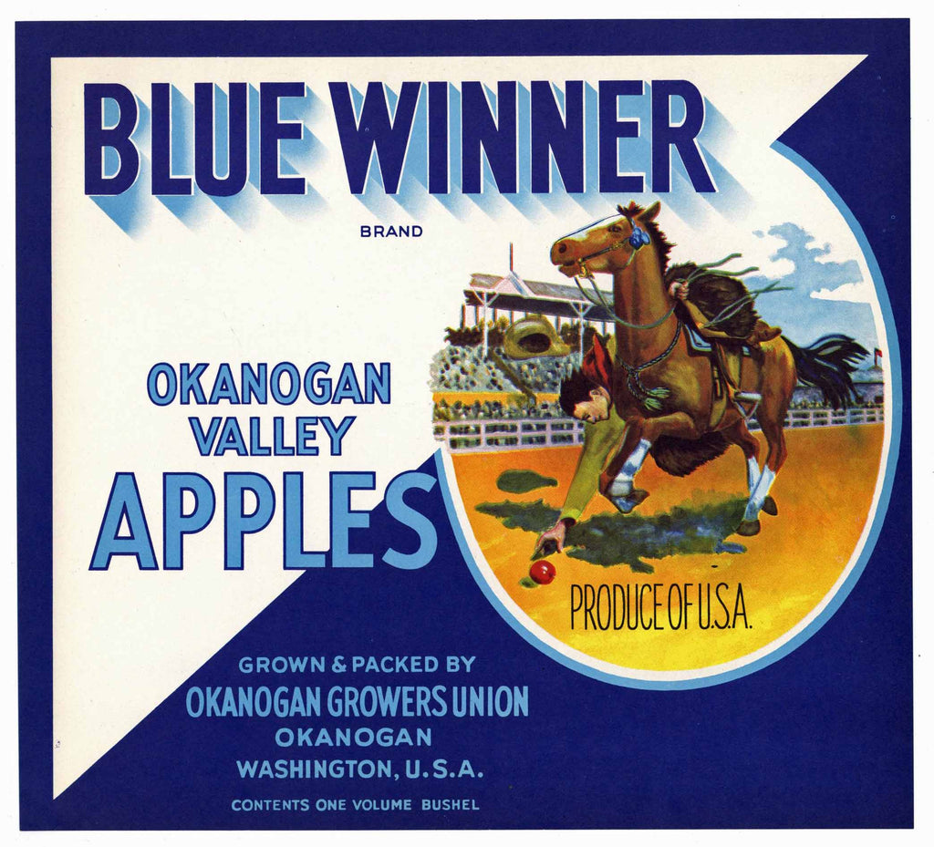 Blue Winner Brand Vintage Washington Apple Crate Label