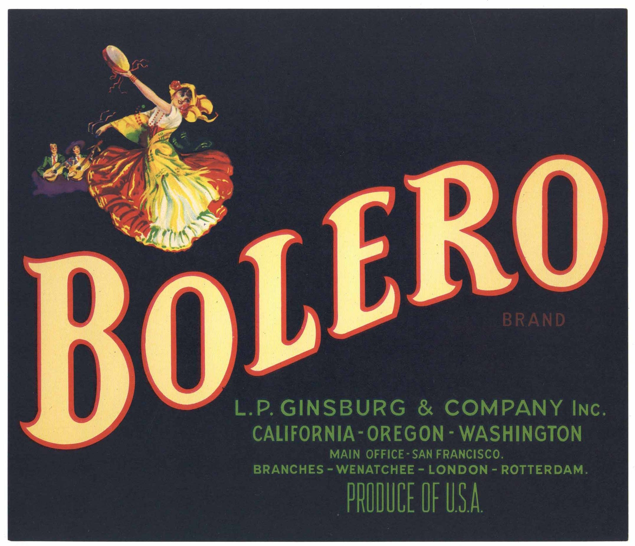 Bolero Brand Vintage Apple Crate Label
