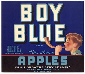 Boy Blue Brand Vintage Wenatchee Washington Apple Crate Label