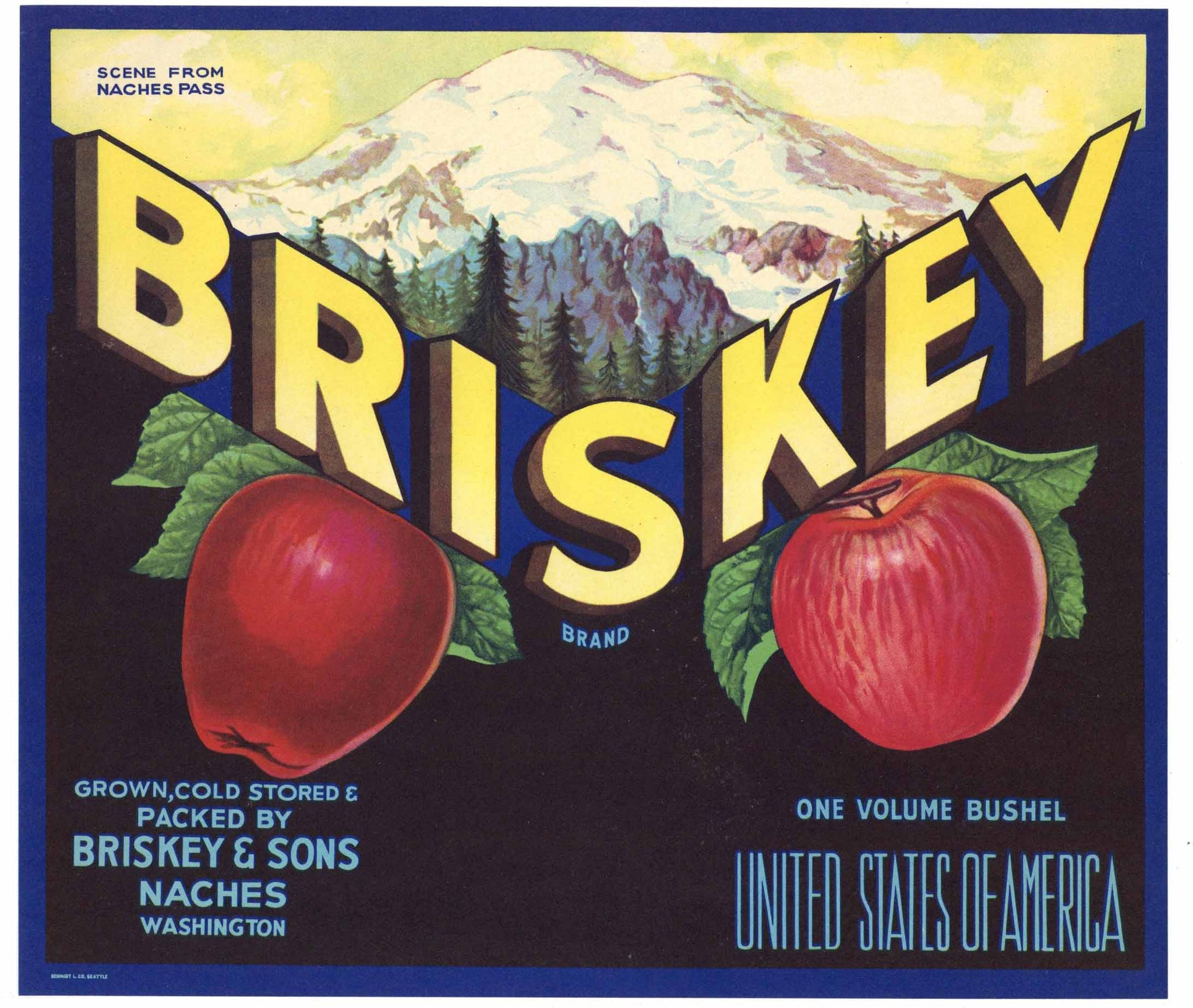 Briskey Brand Vintage Naches Washington Apple Crate Label