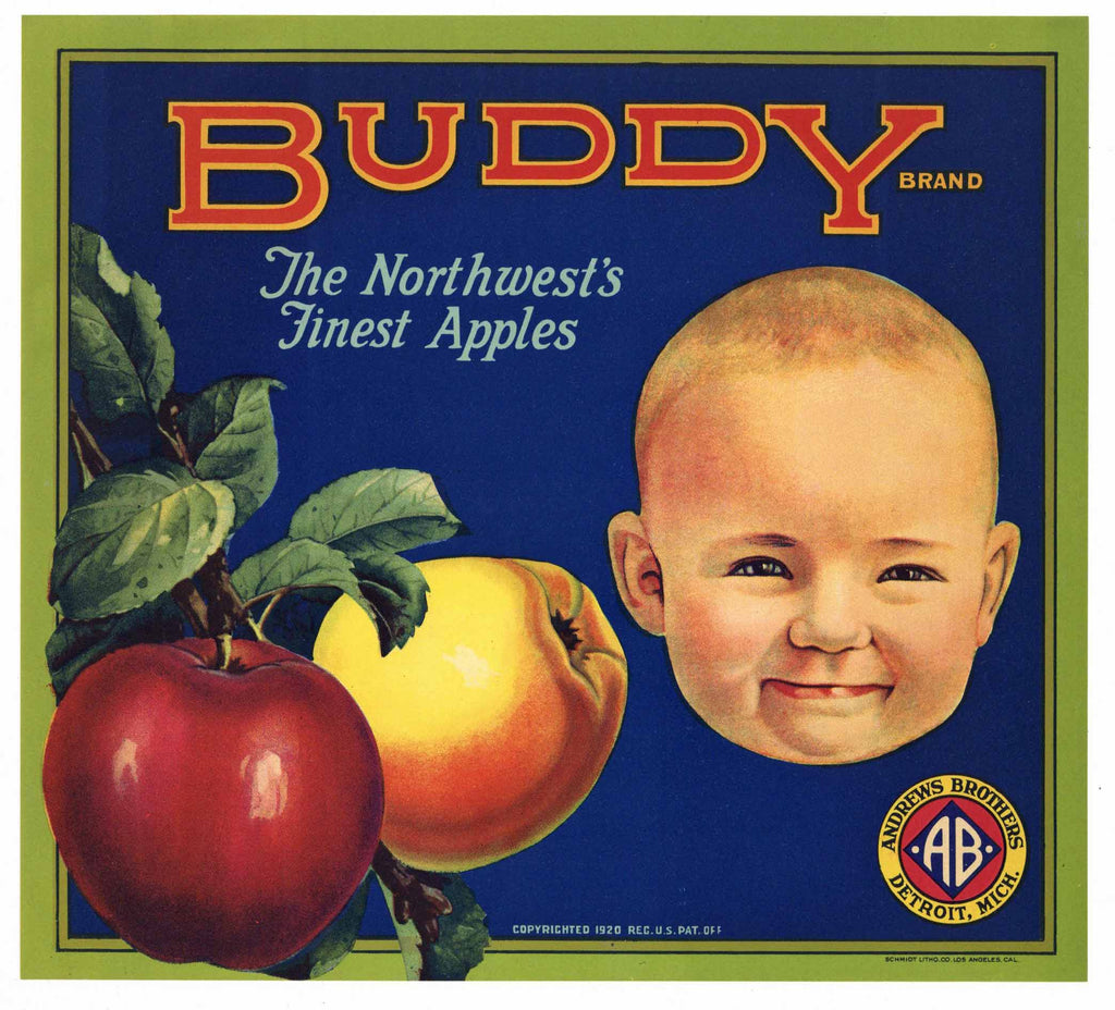 Buddy Brand Vintage Apple Crate Label
